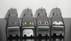 Left to Right: Trijicon HD Sight, TRUGLO Tritium/Fiber Optic Sights, TRUGLO Tritium Night Sight, Glock Factory Plastic Sights.