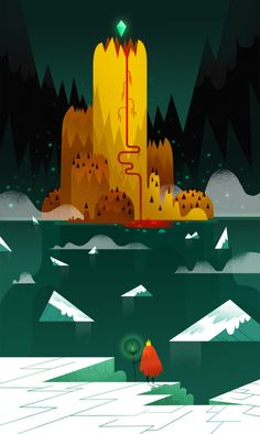 The crystal volcano. Quick illustration with simple shapes and colors. First of a series… I guess