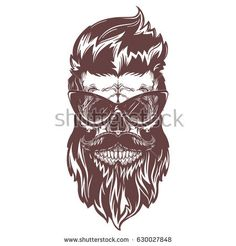 Bronse illustration of skull with beard, mustache, hipster haircut and fushion eyeglasses with reflection. Isolated on white background