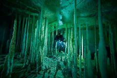 Underwater cave in Bahamas.