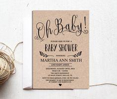 Rustic Baby Shower Invitation, Gender Neutral Baby Shower Invitations, Girl  Or Boy Baby Shower