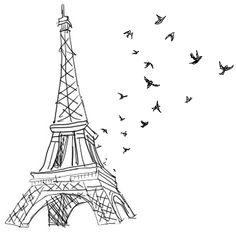 Eiffel Tower with birds transparent