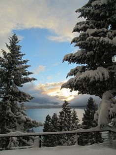 Winter in Lake Almanor, California. (wow! looks like the view we had there) spent a summer on the lake here!