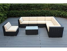 Ohana 8Piece Outdoor Wicker Patio Furniture Sectional Conversation Set with Weather Resistant Cushions Beige  PN0804 >>> Click image for more details.