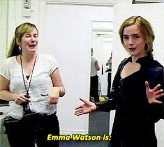 Emma jokes around in her Bellatrix costume.