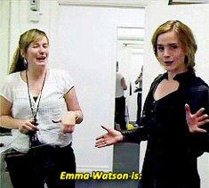 Emma jokes around in her Bellatrix costume.