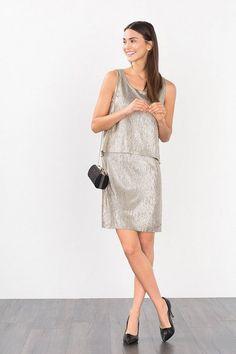 ESPRIT CASUAL Strukturiertes Jersey-Kleid mit Glanz