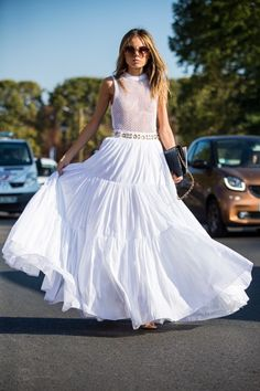 Day Eight Paris Fashion Week Spring Summer 2017 Stock Pictures, Royalty-free Photos & Images Maxi Skirt Outfits, White Maxi Skirts, Nice Dresses, Summer Dresses, Fashion Dresses, Clothes For Women, October 4, Paris France, Peasant Skirt