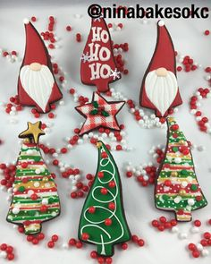 Ho Ho Ho! #decoratedcookies #decoratedsugarcookies #royalicing #christmascookies #hohoho #santacookies #edibleart #okc #okcbaker #ninabakesokc