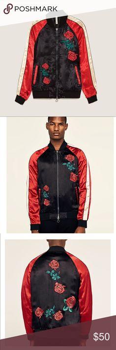 Zara man embroidered bomber jacket XL Zara man  Silk bomber jacket with embroidered rose details Size XLarge  New with tags Zara Jackets & Coats Bomber & Varsity