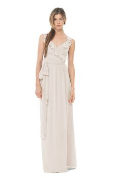 Joanna August Lacey Long   Bridesmaid Dress in Champagne in Chiffon