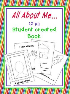 NEW DOWNLOAD available to Download Club Members! All About Me (12 pg Student Created Book) Download @ http://www.christianhomeschoolhub.spruz.com/preschool---kindergarten.htm