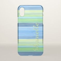 Custom Lime Green Turquoise Watercolor Stripes iPhone X Case - summer gifts season diy template ideas