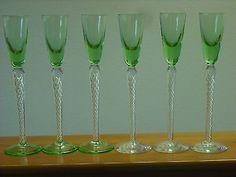 Air Twist,Long Stem Conagc,Cordial,Apertief Glasses,Green Top,Green & Clear Foot