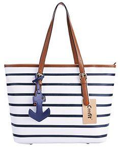 Coofit Stripes Summer Purse Tote Shoulder bag Womens Handbag PU Leather  Purse with Sea Anchor Pendant - New Deals USA a6626c1363bfe
