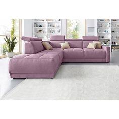 Canapé angle fixe à droite ou à gauche têtières relevables en toile
