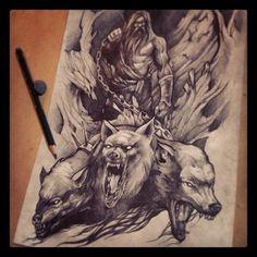 #sketch #saketattoocrew #pencil #mythology #hades #cerberus #dog #tattoo #gbaker