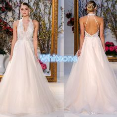 Anne Barge 2016 A Line Wedding Dresses Backless Halter Tiered Skirts Garden Vintage Lace Ruffled Bridal Gowns Court Train Custom Made Bridal Stores Bride Dress From Whiteone, $123.29| Dhgate.Com