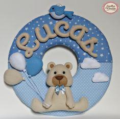 Guirlanda Porta Maternidade tema Ursinho com balões em feltro e tecido. *Confeccionado por Agulha de Condão Ateliê*