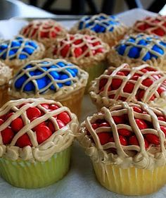 Pie Cupcakes....made with red & blue M&Ms