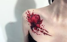 50 Shoulder Tattoo For Woman:Red Flower Freehand Shoulder Tattoo Finger Tattoos, Body Art Tattoos, Girl Tattoos, Tatoos, Tattoo Girls, Tattoo Son, Back Tattoo, Flower Tattoo Designs, Tattoo Designs For Women