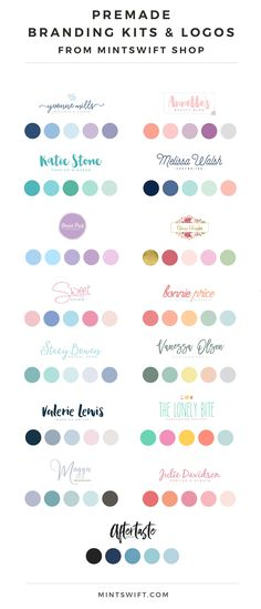 MintSwift Shop: Redesigned Premade Branding Kits & Logos Now Available… Blog Logo, Colour Pallete, Colour Schemes, Color Palettes, Branding Kit, Branding Design, Design Logos, Brand Identity, Brand Logo Design