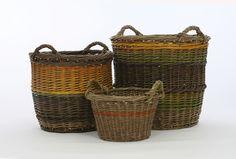 Kathleen McCormick 3 Log Baskets, willow, hazel and ash rods, Large 560x560x560mm, Medium 440x440x440, Small 330x330x400mm