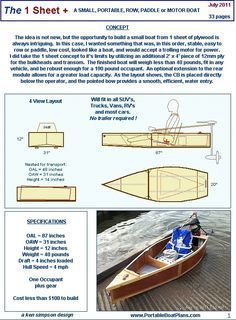 Portable Boat Plans - 1 sheet+