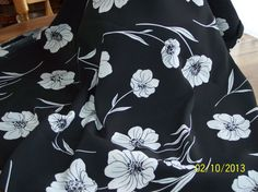 Black & white floral fabric by Pursespillowsandmore on Etsy, $30.00