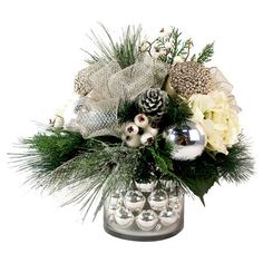 Classic and elegant, this ribbon-adorned floral arrangement makes a stunning holiday centerpiece or mantel accent. Product: Fau...