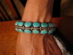 Exquisite Sterling Sleeping Beauty Turquoise Bracelet by James Livingston Navajo