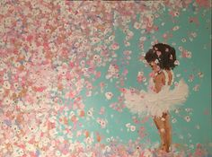 Little girl ballerina in flowers, dreaming Painting by Kimberly A.P.