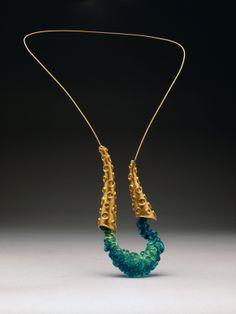 Plethora [Neckpiece] by Theresa Capell - Copper, Brass, Steel, Resin; Gold Plated and Hollow Formed. Funky Jewelry, Metal Jewelry, Jewelry Art, Beaded Jewelry, Handmade Jewelry, Jewelry Necklaces, Jewelry Design, Fashion Jewelry, Unique Jewelry