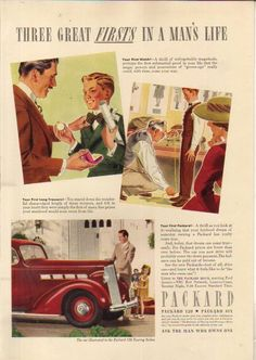 1937 Red Packard 120 Touring Sedan~Firsts In a Man's Life Watch~Trousers~Car Ad in | eBay
