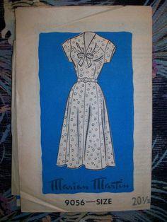 Vintage 1950's Marian Martin Sewing Pattern 9056 Women's Day Dress