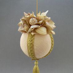 "Towers & Turrets- ""Coronado"" -Large Beige Moire Faille Fabric Ball Christmas Ornament with Seashells, Starfish- Victorian Inspired, Handmade"