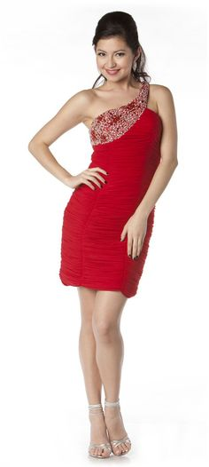 Asymmetrical One Shoulder Sparkly Short Red Cocktail Dress Sexy $147.99