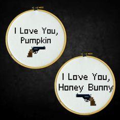 Pulp Fiction - I Love You Pumpkin, I Love You Honey Bunny - Cross Stitch PDF Pattern by LadyBeta on Etsy