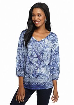 New Directions® Multi Printed Tie Neck Peasant Top