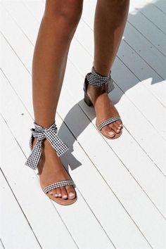 Gingham Block Heels - Shoes by Sabo Skirt Sock Shoes, Cute Shoes, Me Too Shoes, Crazy Shoes, Shoes Heels, Strappy Shoes, Footwear Shoes, Strap Heels, Ankle Strap