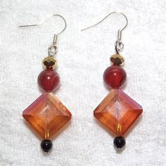 Earrings  Autumn Squares  Gemstone and Glass  Free by KasumiCrafts