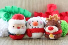 feltify: Needle felted Christmas ornaments - Santa, Snowman and Reindeer egg shape ball eco friendly toy, Christmas tree ornament and keychain