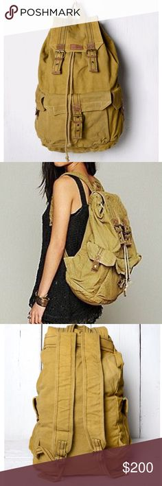 FREE PEOPLE Bag Distressed Backpack Big Book Tote New with tags.  $158 Retail + Tax.  • Intentionally distressed canvas backpack with real leather accents & comfortable adjustable shoulder straps. • Drawstring under flap + buckle closure. • 3 large exterior pockets, lined interior & 1 zip pocket.  • By Bed Stu for Free People. • Measurements in comment(s) below.   {Southern Girl Fashion - Closet Policy}   ✔️ Same-Business-Day Shipping (10am CT). ✔️ Reasonable best offer considered when…
