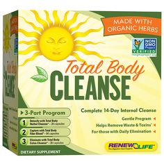 Total Body Cleanse by Renew Life.  Gentle intestinal cleanse to clear the digestive tract of toxins and promote regularity!