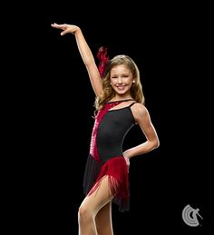 Tap your troubles away E276  Black and red nylon/spandex and red sequin poly/spandex boy short leotard with attached mesh and fringe skirt. INCLUDES: binding headband (not shown).  For Australian information www.curtaincallcostumes.com.au #dance #costumes #australia