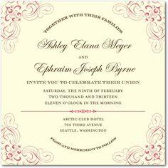 Signature Ecru Wedding Invitations Ornate Arrangement - Front : Black