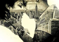 Couple in love Kissing over New York - Double Exposure Effect - Free Valentines Day Images