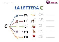 La lettera C e le sue sillabe<br> Mini Donuts, Italian Language, School Hacks, Kids Learning, Activities For Kids, Preschool, Coding, Math Equations, Camilla