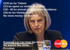 Think, people, think! She's not there for anyone other than the very prosperous. she doesn't give a shit about Joe Public, nor does her party! Corporate Crime, Conservative Memes, Scum Of The Earth, Scotland History, Tory Party, Political Satire, George Orwell, Right Wing, Humor