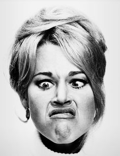 hollywood icons Bette Davis Jane Fonda Robert Redford Marlon Brando Marilyn Monroe Elizabeth Taylor and Richard Burton James Dean Anne Bancroft and Mel Brooks Marlon Brando Audrey Hepb Jane Fonda, Silly Faces, Funny Faces, Black Panthers, Emotion Faces, Expressions Photography, Faye Dunaway, Drawing Expressions, Making Faces